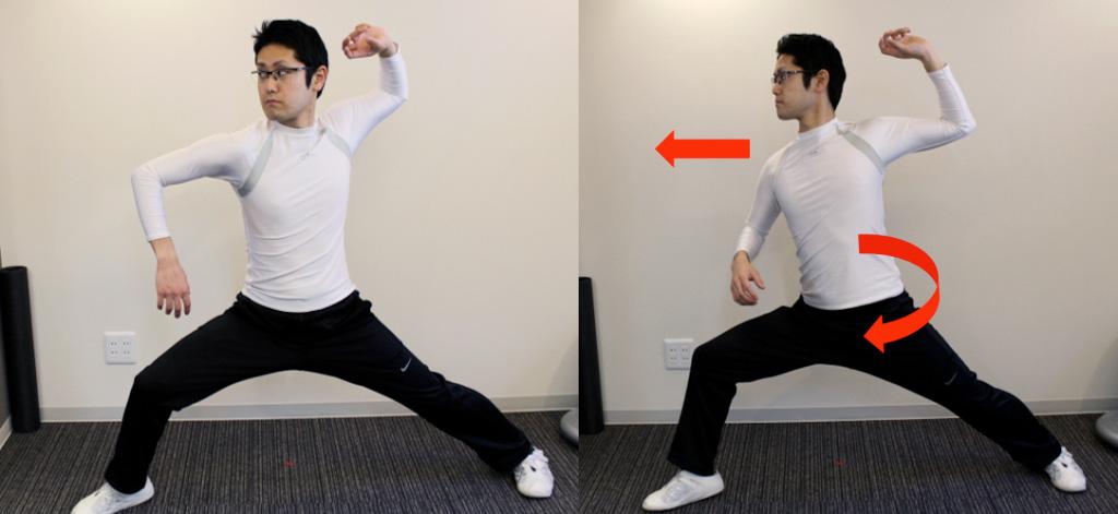 左:正常 右:上体の突っ込み、早期の開き